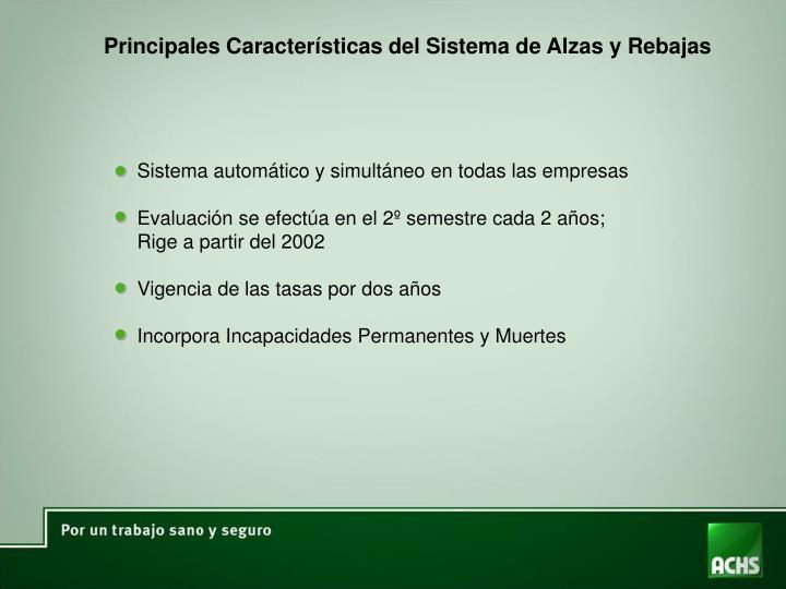 Principales Características del Sistema de Alzas y Rebajas