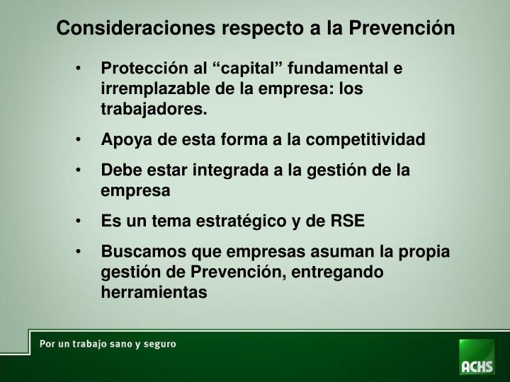 Consideraciones respecto a la Prevención