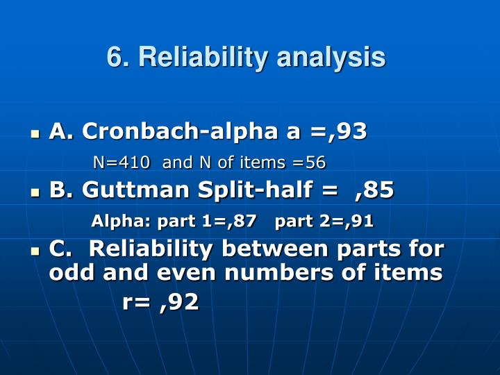 6. Reliability analysis