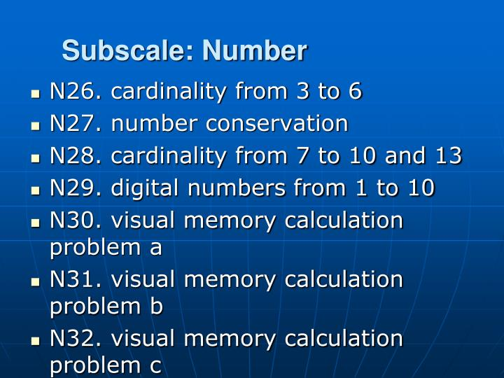 Subscale: Number