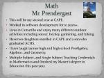 math mr prendergast
