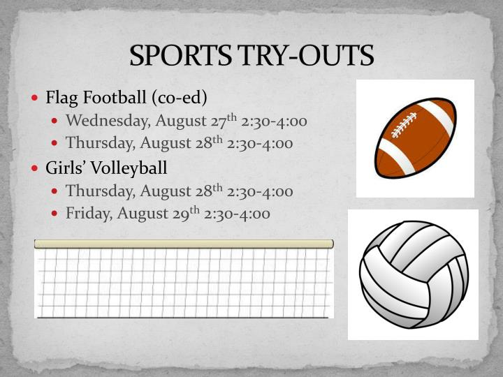 SPORTS TRY-OUTS