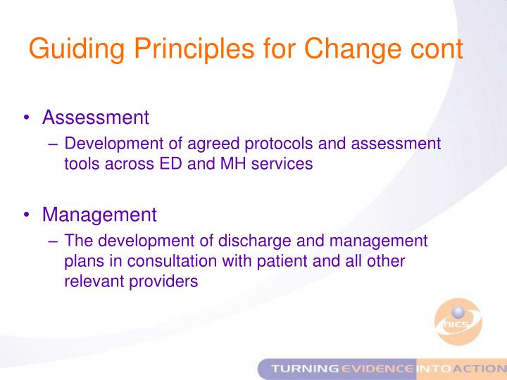 Guiding Principles for Change cont