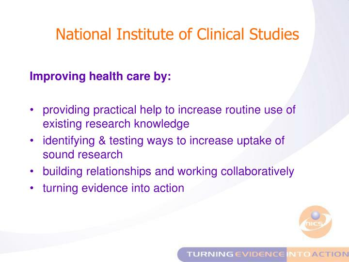 National Institute of Clinical Studies