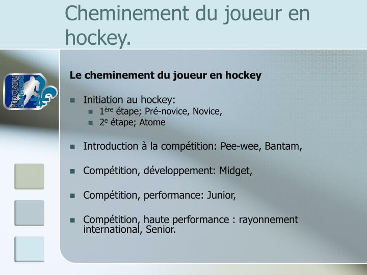 Cheminement du joueur en hockey.
