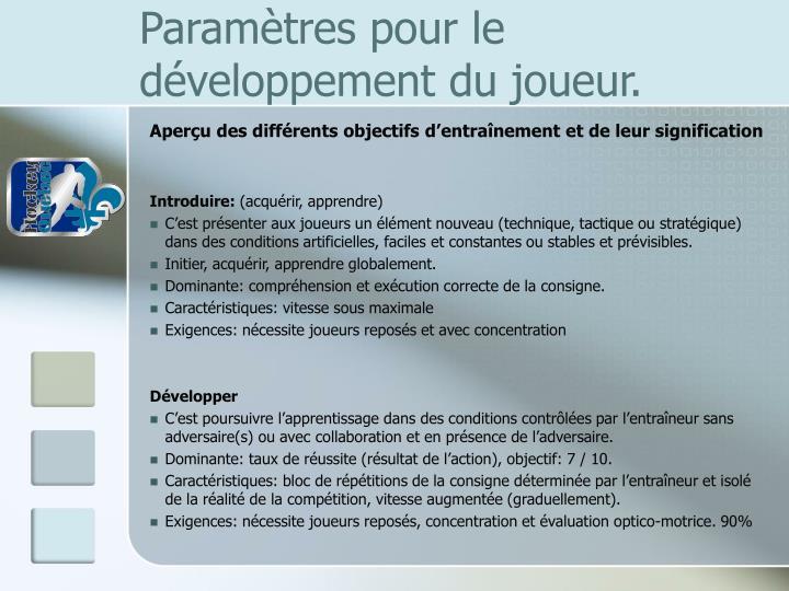 Paramètres pour le développement du joueur.