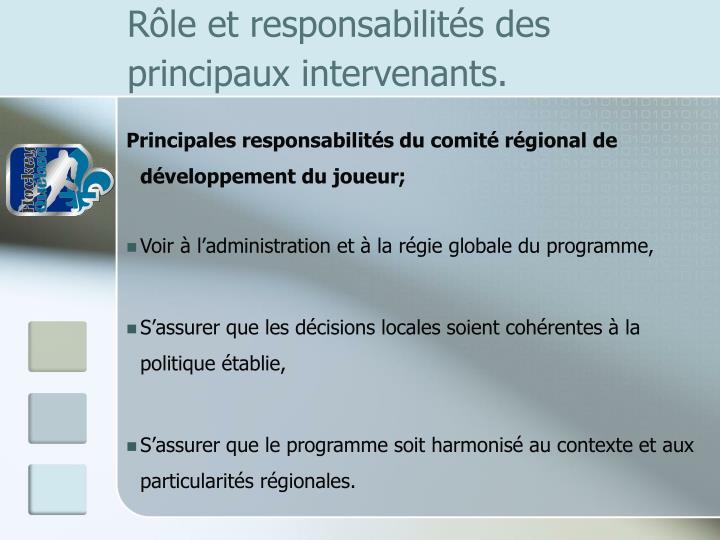 Rôle et responsabilités des principaux intervenants.