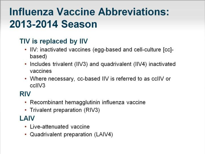 Influenza Vaccine Abbreviations: 2013-2014 Season