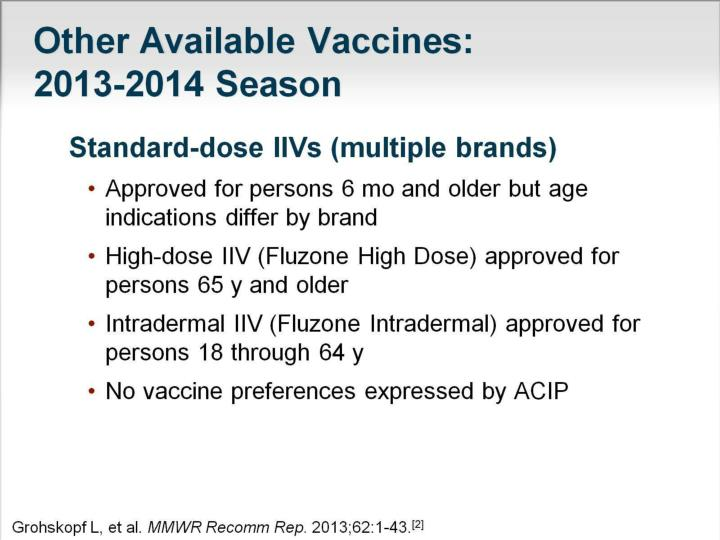Other Available Vaccines: