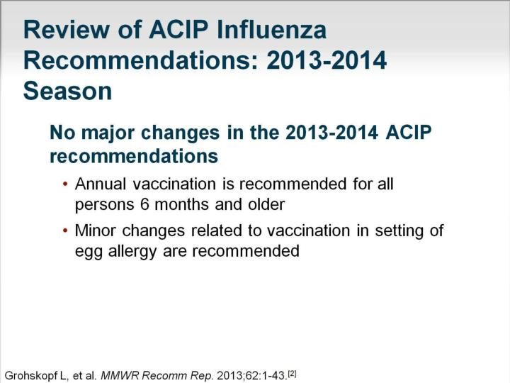 Review of ACIP Influenza Recommendations: 2013-2014 Season