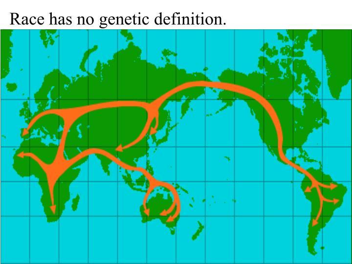 Race has no genetic definition.