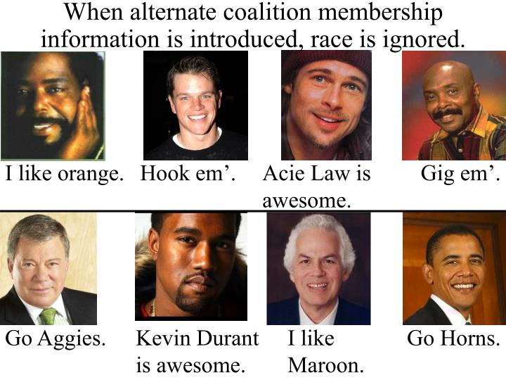When alternate coalition membership information is introduced, race is ignored.
