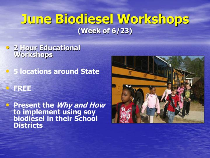 June Biodiesel Workshops
