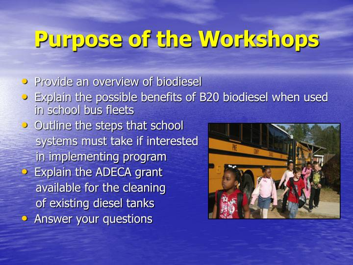 Purpose of the Workshops