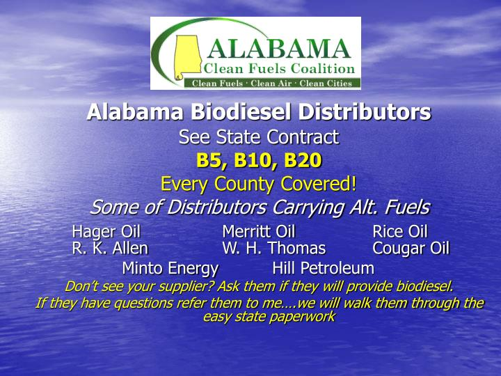 Alabama Biodiesel Distributors