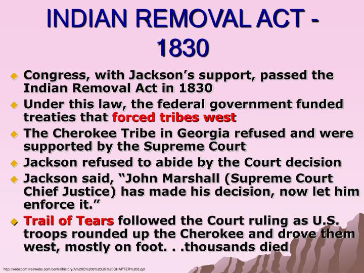 INDIAN REMOVAL ACT - 1830