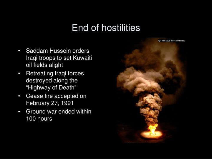 End of hostilities