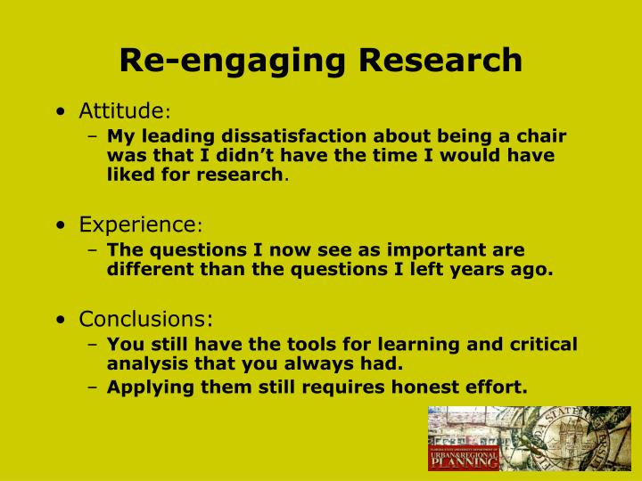 Re-engaging Research