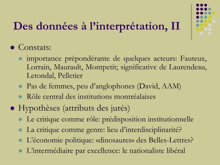 Des données à l'interprétation, II