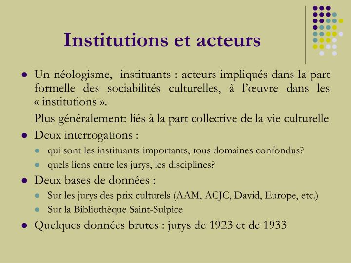 Institutions et acteurs