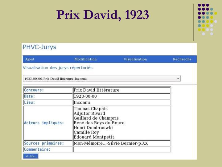Prix David, 1923