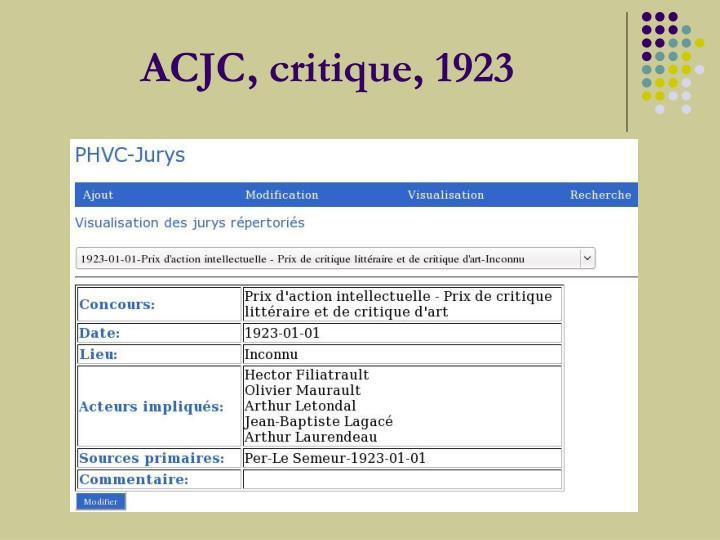 ACJC, critique,