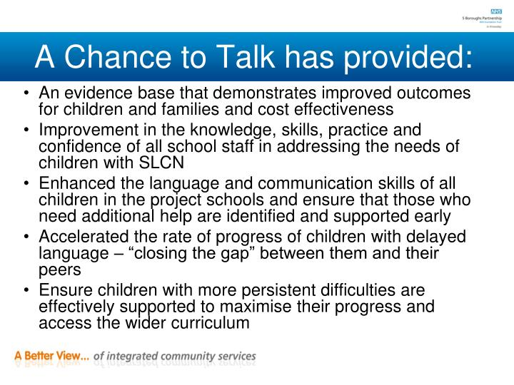 A Chance to Talk has provided:
