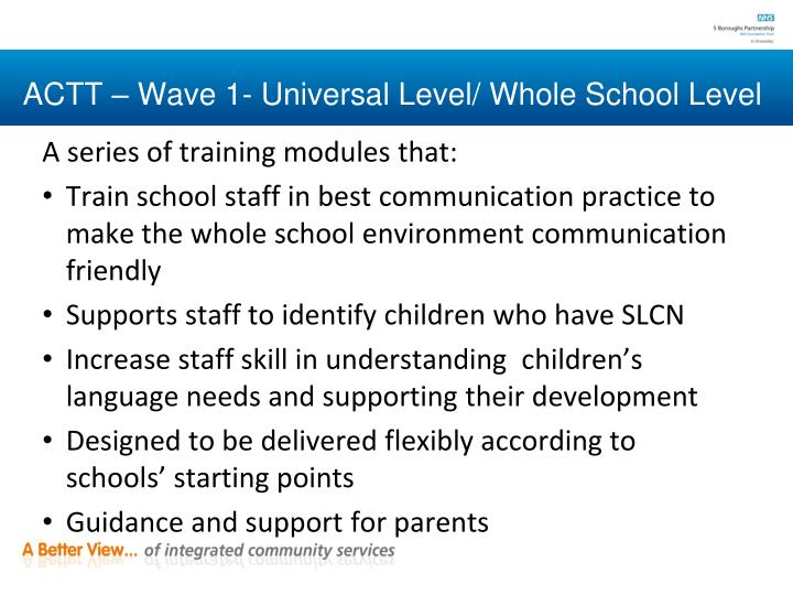 ACTT – Wave 1- Universal Level/ Whole School Level