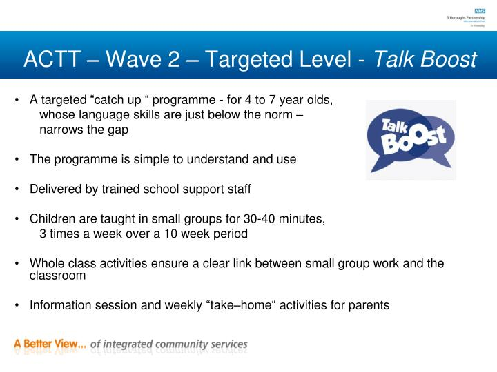 ACTT – Wave 2 – Targeted Level -