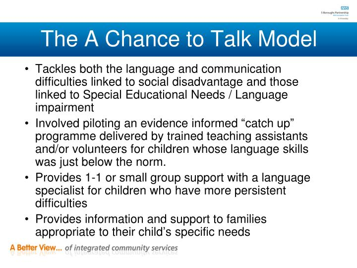 The A Chance to Talk Model