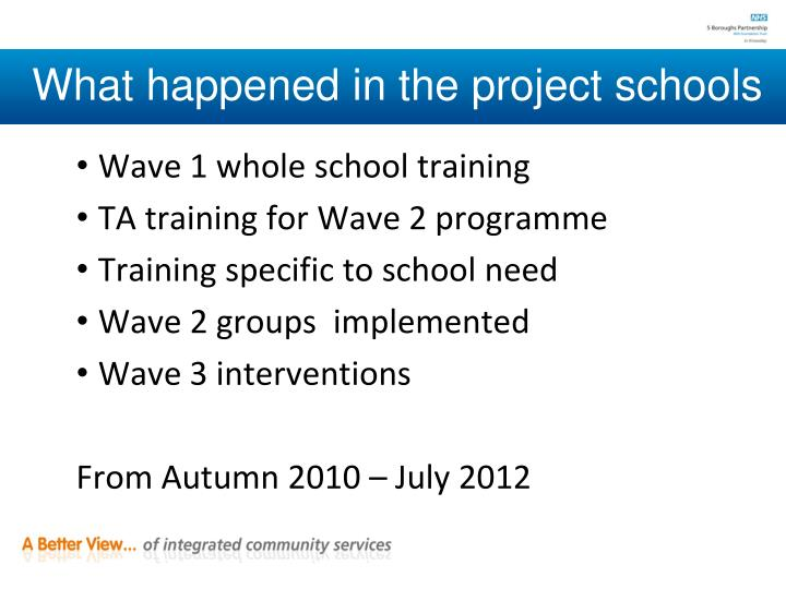 What happened in the project schools