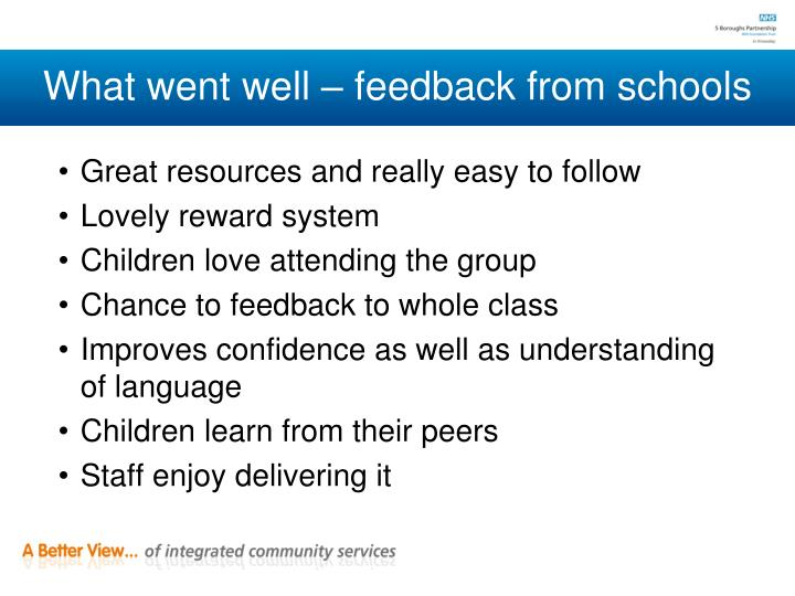 What went well – feedback from schools