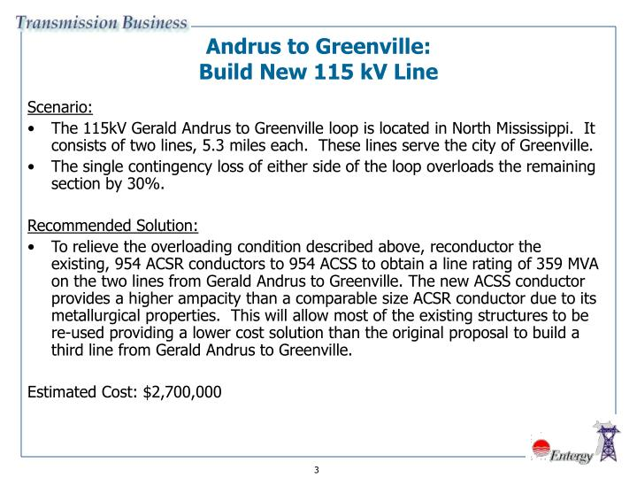 Andrus to greenville build new 115 kv line
