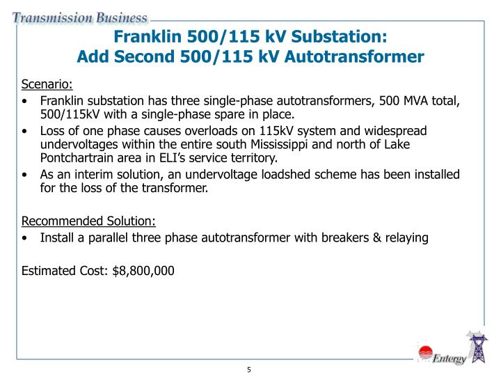Franklin 500/115 kV Substation: