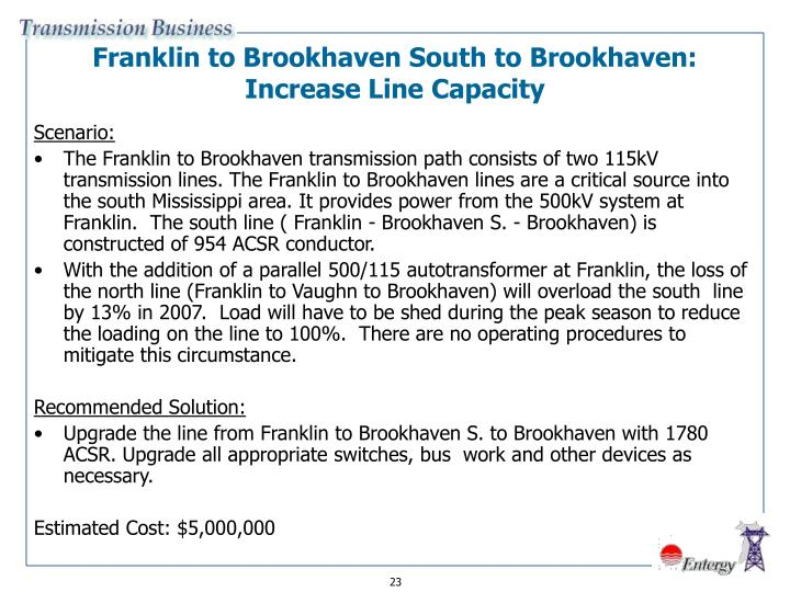 Franklin to Brookhaven South to Brookhaven: