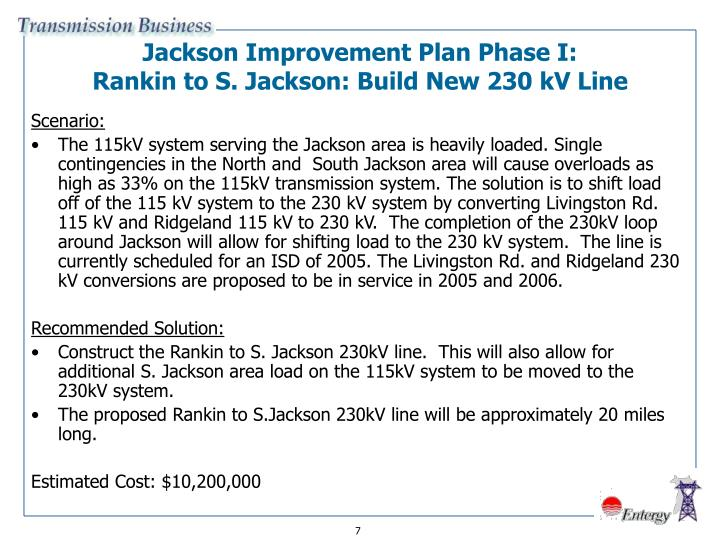 Jackson Improvement Plan Phase I: