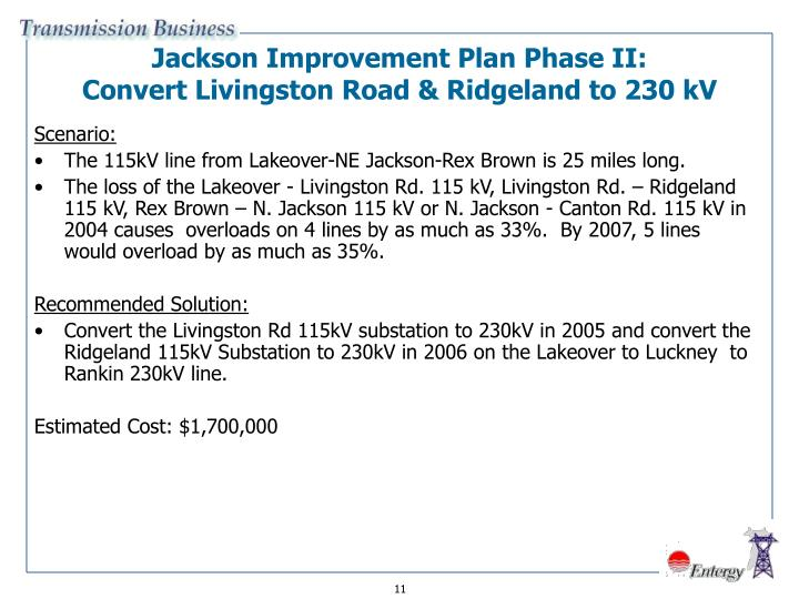 Jackson Improvement Plan Phase II: