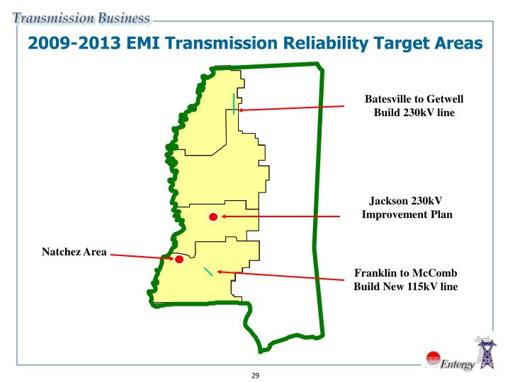 2009-2013 EMI Transmission Reliability Target Areas