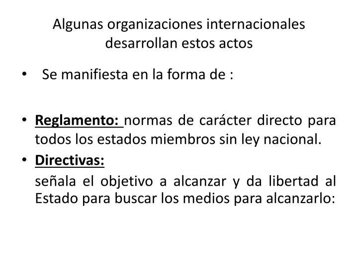Algunas organizaciones internacionales desarrollan estos actos