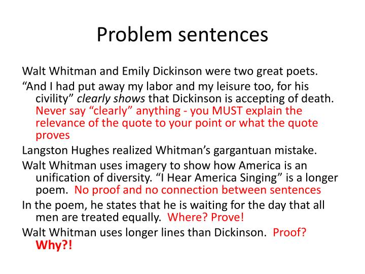 an analysis of literary criticism in the works of walt whitman and emily dickinson Comparing walt whitman and emily dickinson during the time in american history known as the, several poets began to stray from the traditional methods of writing poetry.