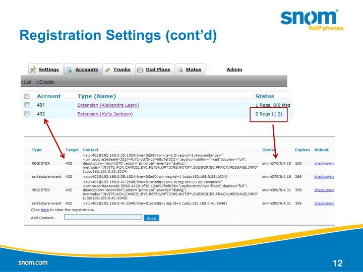 Registration Settings (cont'd)