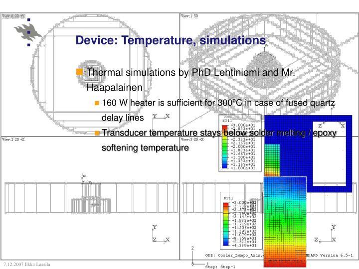 Device: Temperature, simulations