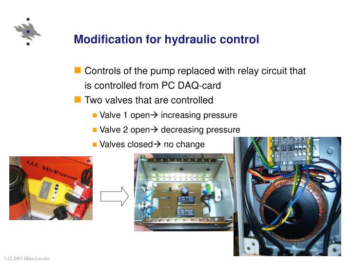 Modification for hydraulic control