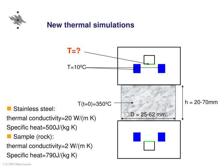 New thermal simulations
