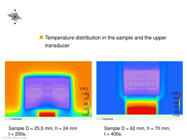 Temperature distribution in the sample and the upper transducer