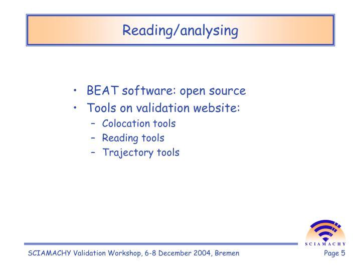 Reading/analysing