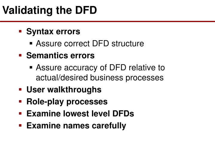 Validating the DFD