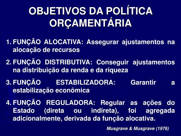 OBJETIVOS DA POLÍTICA ORÇAMENTÁRIA