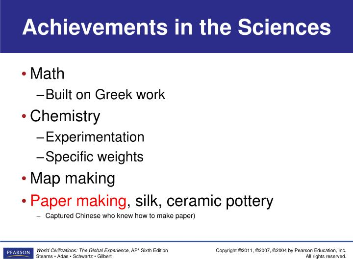 Achievements in the Sciences