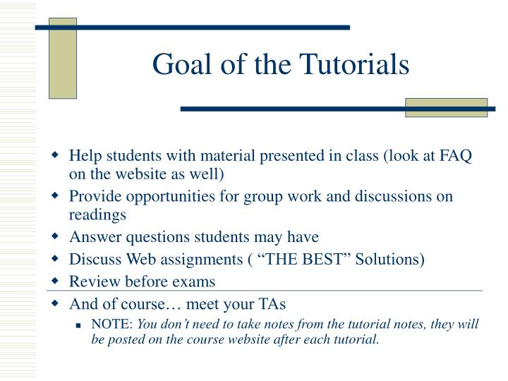 Goal of the tutorials